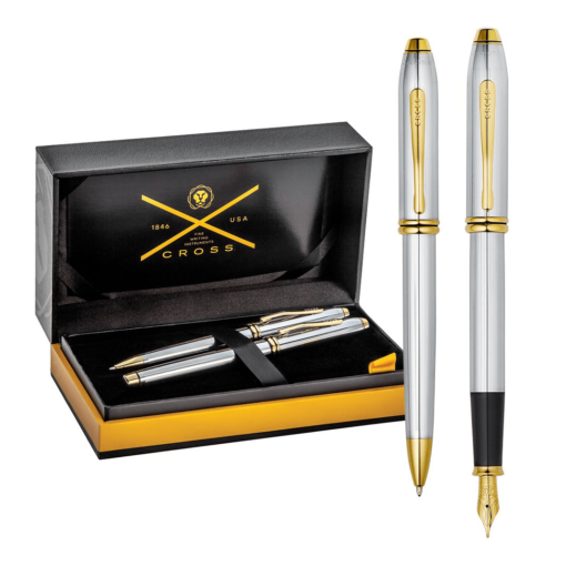 Cross Townsend Medalist Chrome Gold Trim Ballpoint & Fountain Pen Set
