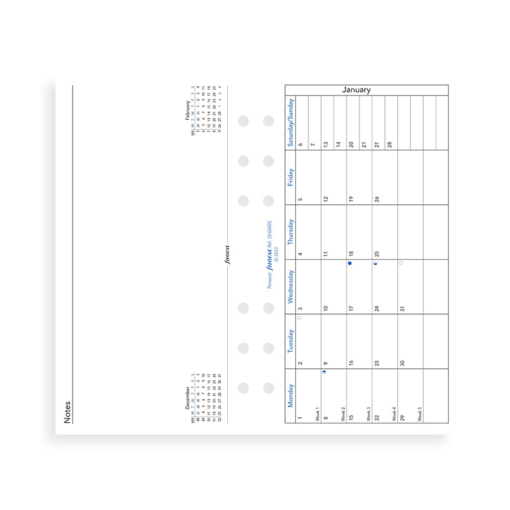 Filofax 2019 Personal Month On One Pages Diary Insert With Facing Notes Page