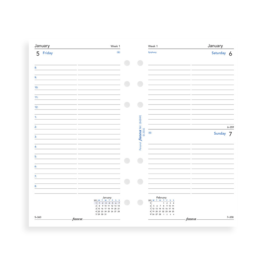 Filofax 2019 Personal One Day On A Page With Appointments Diary Insert