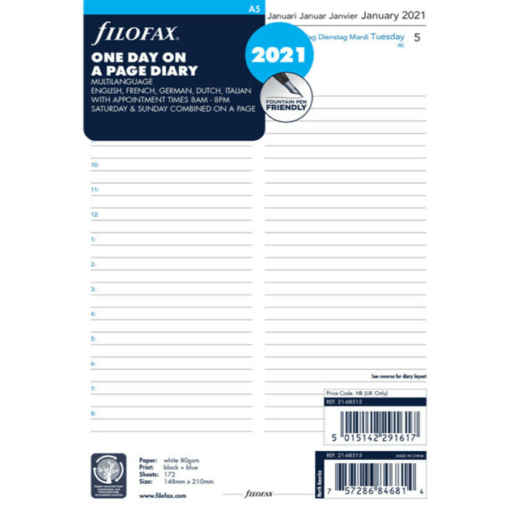 Filofax 2021 A5 One Day On A Page Business Diary Insert - Multilanguage- 21cm x 14.8cm