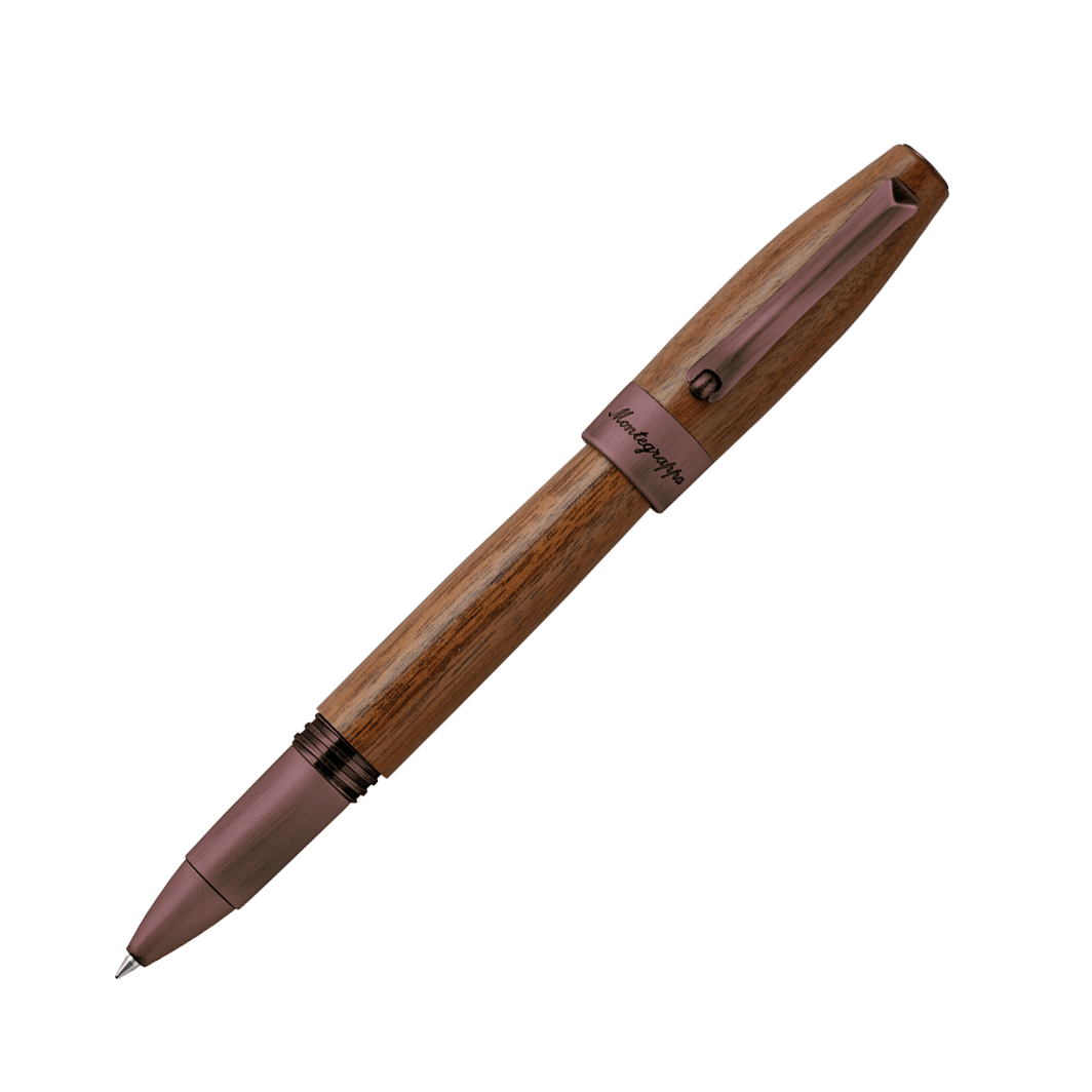 Montegrappa Heartwood Walnut Rollerball Pen With Notebook