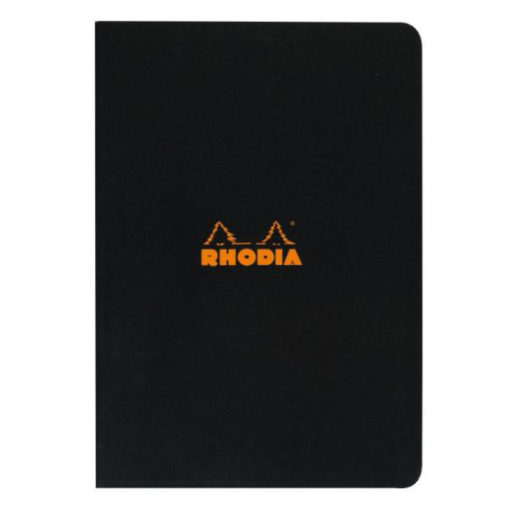 A4 Lined Black Stapled Rhodia Notebook
