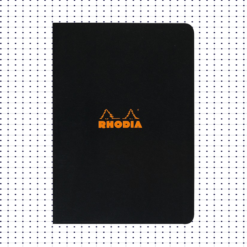 A5 Dot Black Stapled Rhodia Notebook - 14.8 cm x 21.0 cm