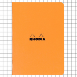 A4 Orange Stapled Rhodia Notebook Squared - 21 cm x 29 cm