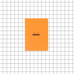 A7 5/5 Orange Stapled Rhodia Notebook - 10.5 x 7.4 cm