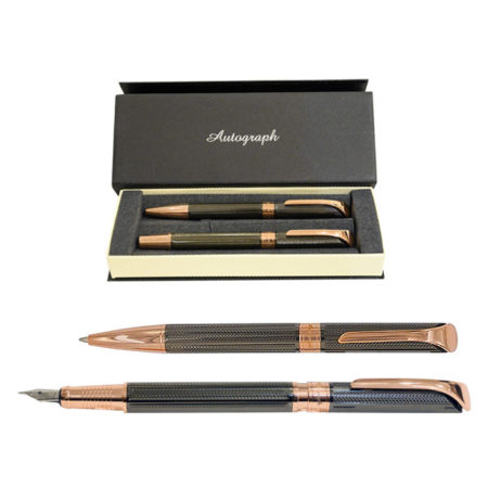 Autograph Gun-Metal 2-Tone Fountain and Ballpoint Pen Set