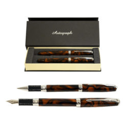 Autograph Tortoise Shell Fountain and Rollerball Pen Set