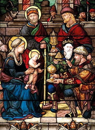 Adoration of the Magi Stained Glass Panel Christmas Card 8 Pack