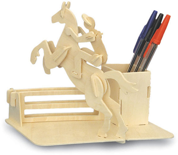 Horse Riding Pen Holder Woodcraft Construction Kit