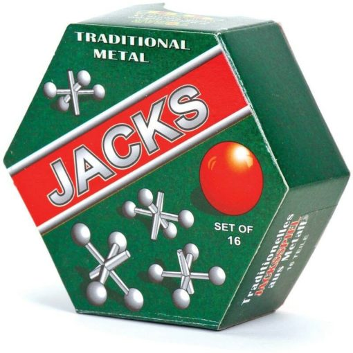 Traditional Vintage Game Set of 16 Metal Jacks with Ball