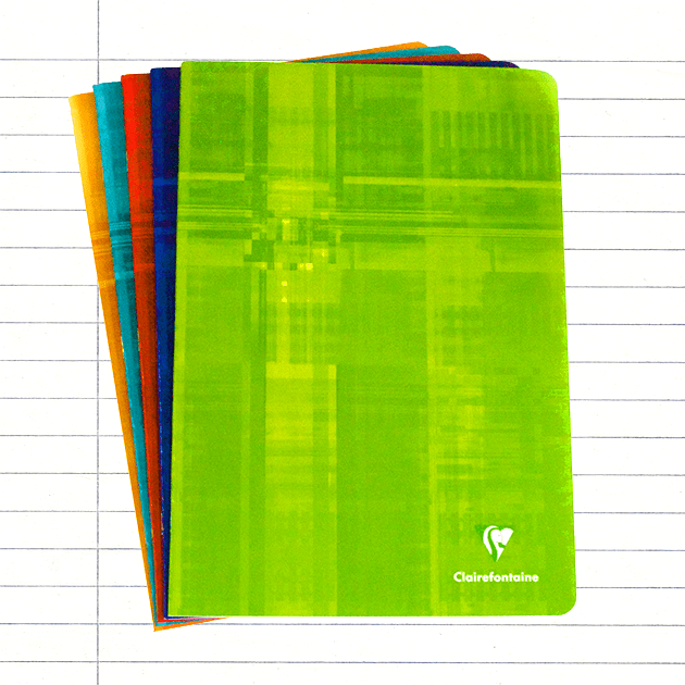 PACK OF 5 Clairefontaine A4 Stapled, Lined Pages - Assorted Colours