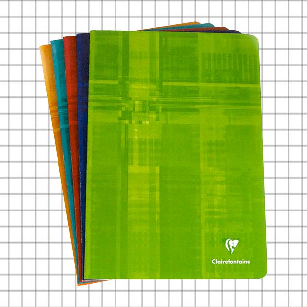 PACK OF 5 Clairefontaine A4 Stapled, 5x5 Square Pages - Assorted Colours