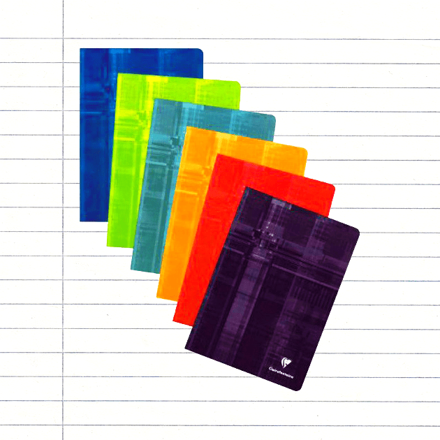 PACK OF 5 Clairefontaine A6 Stapled, Lined Pages - Assorted Colours