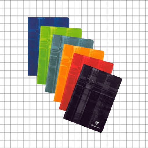 PACK OF 5 Clairefontaine A6 Stapled, Squared 5x5 Pages - Assorted Colours