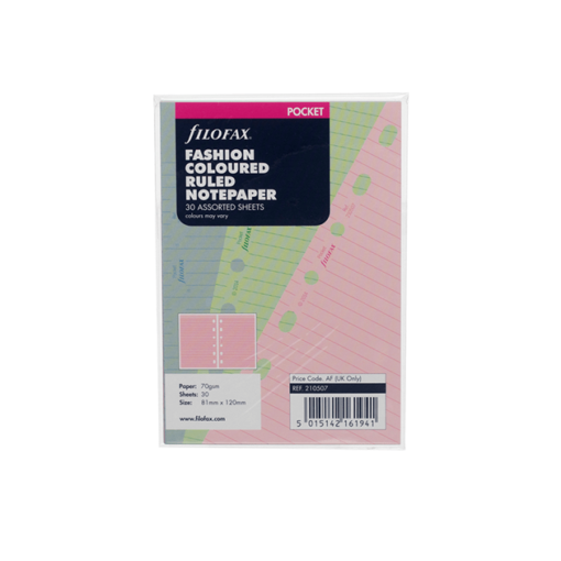 Filofax Pocket Fashion Coloured Ruled Notepaper 12cm x 8.1cm