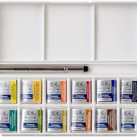 Winsor and Newton Water Colour Paint Pocketbox, 12 x Half Pan