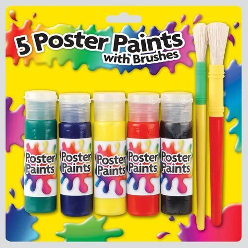 5 Poster Paints With Brushes Set