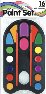 16 Colours With 2 Brushes Paint Set