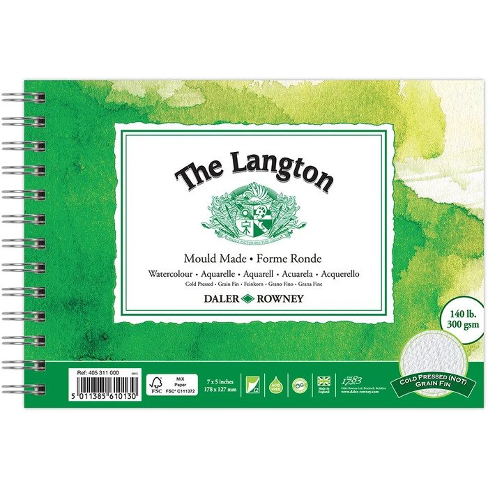 The Langton Watercolour Paper Spiral - Daler & Rowney - 7 x 5 inches (Copy)