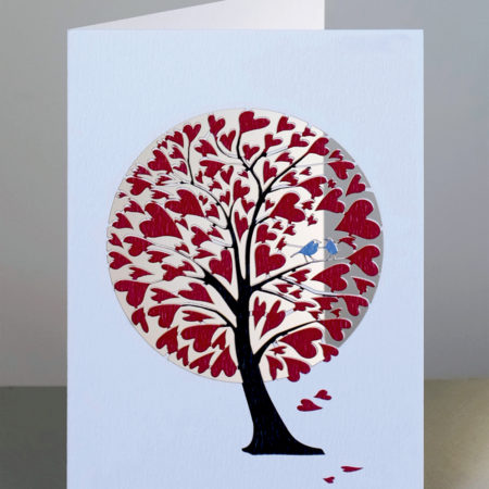Laser Cut Red Heart Tree Valentines Day Card