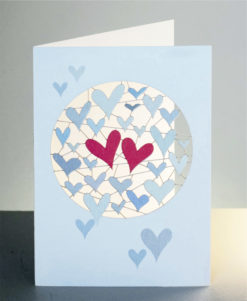 Laser Cut Two Hearts Valentines Day Card