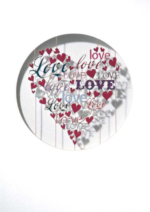 Laser Cut 'Love, Love' Valentines Day Card