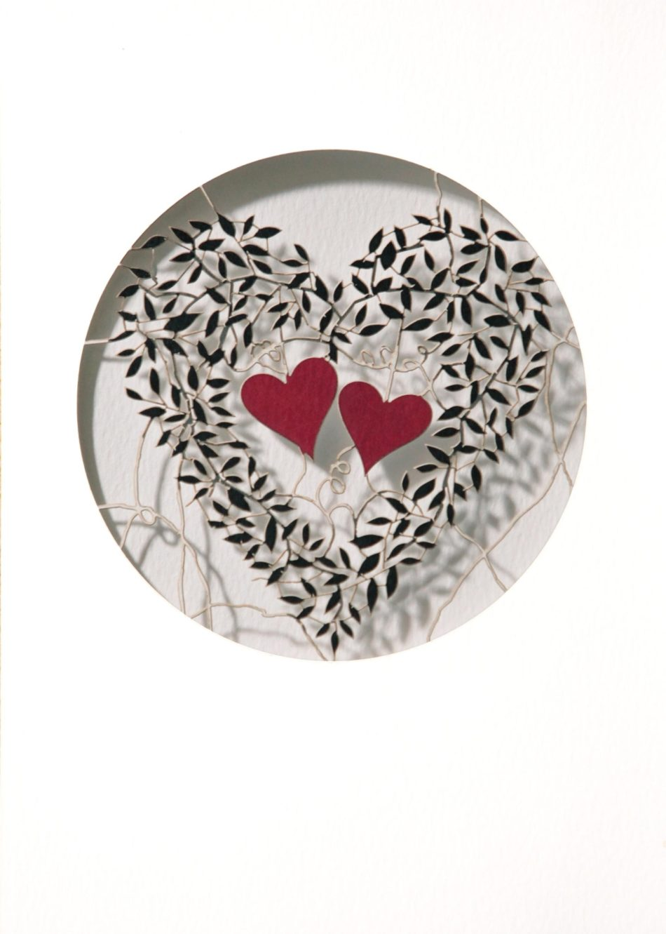 Laser Cut Hearts and Leaves Valentines Day Card