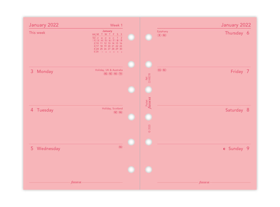 Filofax Pink Pocket Refill Week on Two Pages 2022 - 8.1cm x 12cm