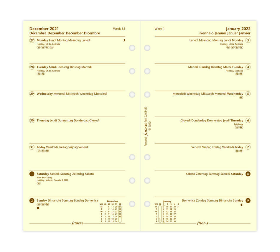Filofax Personal Cotton Cream Week on One Page 2022 - 11.4 x 20.5cm