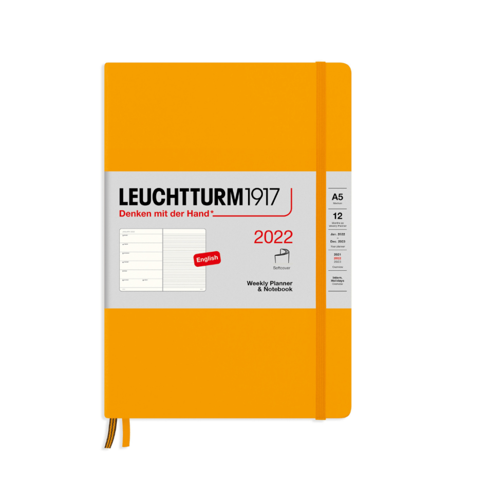 Leuchtturm1917 Weekly Planner and Notebook 2022 Softcover - A5 - 15 x 21 cm