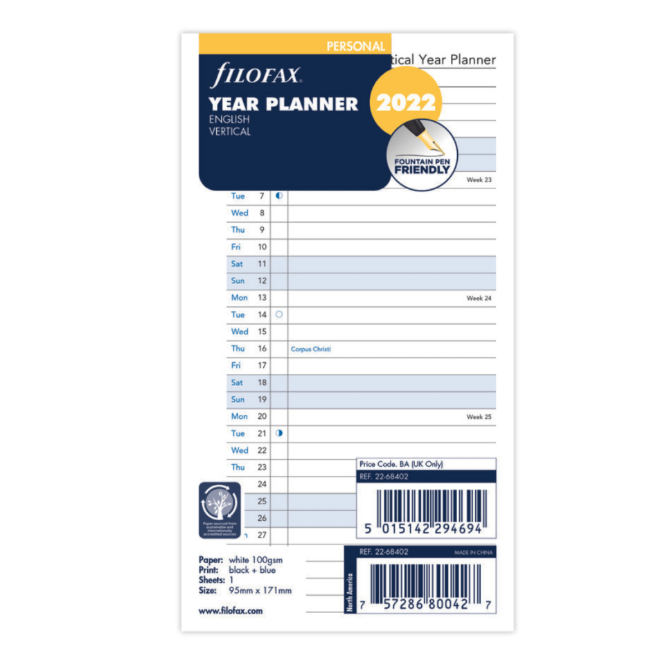 Filofax Personal Year Planner Vertical Lined 2022 - 11.4 x 20.5cm