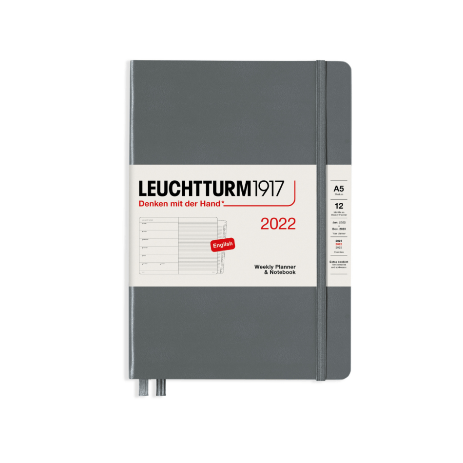 Leuchtturm1917 Weekly Planner and Notebook 2022 - A5 - 15 x 21 cm