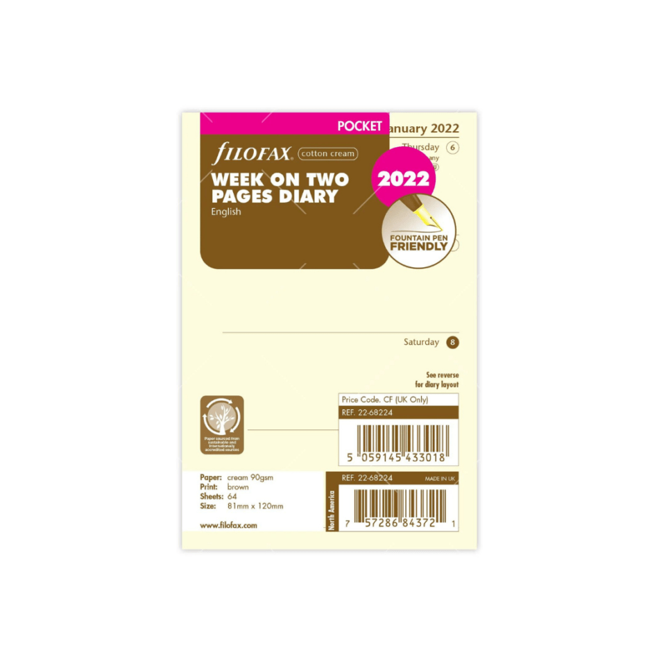 Filofax Cotton Cream Pocket Refill Week on Two Pages 2022 - 8.1cm x 12cm