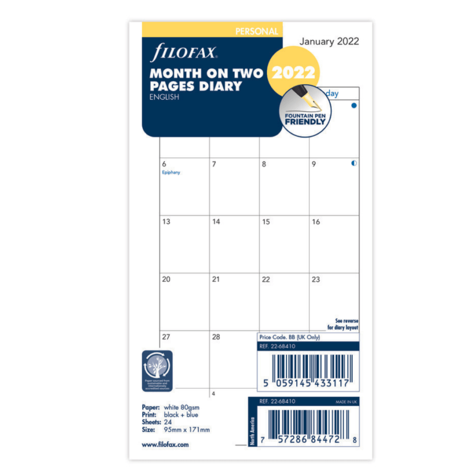 Filofax Personal Month on Two Pages 2022 - 11.4 x 20.5cm